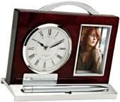 Quercia II Wood & Aluminum Clock, Pen & Photo Frame