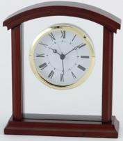 Wooden Desk Clock II - With Brass & Glass Accents