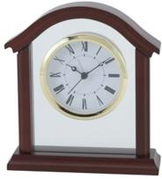 Wooden Desk Clock withBrass & Glass Accents
