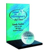Crystal Clear Awards On Black Glass Bases Crystal Golf Ball