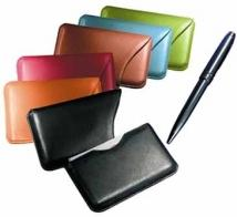 Slide-Out Business Card Case - Synthetic Leather 2.2 oz.