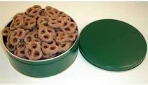 Large Round Tin Filled With Frosted Pretzels