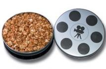 Medium Film Reel Tin With Salted Pretzels