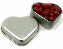 Tin Heart Silver With Red Hots