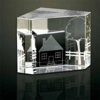 Homeward Bound 3-D Multi-faceted Optical Crystal Paperweight