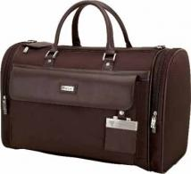 Messina Dark Brown Leather/Twill Nylon Travel Bag