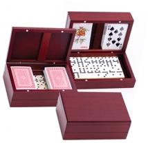 Wooden Domino Set With 2 Decks of Playing Cards
