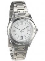 Capital Stainless Steel Watch & Band With Chrome Accents