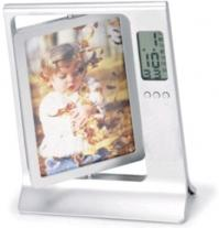 Rotating Desktop Dual Picture Frame/Built in Clock.