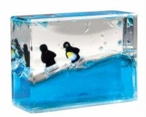 Mini Penguin Liquid Wave Paperweight