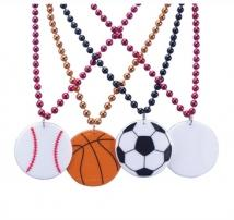 "33"" Soccer Pendant Bead Necklace"