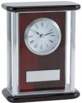 Pianowood Desk Clock With Silver Accents