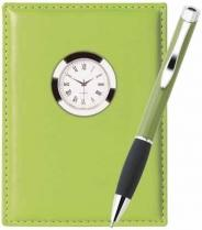 Tenor Ballpoint & Leather Clock Set - Colorplay