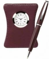 Harvest Ballpoint & Leather Clock Set - Terra