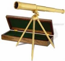 Admiral's Telescope With Tripod /Oak Case