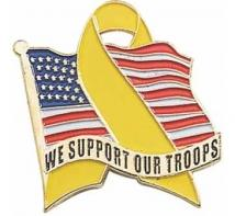"""We Support Our Troops"" Flag Pin"