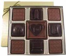 6 oz. Chocolate Squares & Heart Centerpiece Gift Box