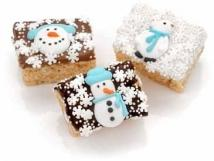 Winter Decorated Chocolate Dipped Mini Krispies