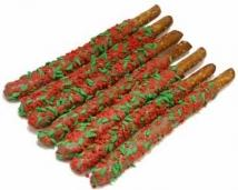 Holly Berry Pretzel Wands- Individually Wrapped