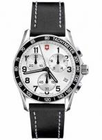 Chrono Classic Large Silver Dial Black Bezel Black Leather