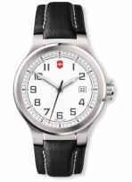Peak II Large White Dial Black Leather Strap