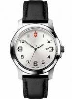 Garrison Elegance Large Silver Dial Black Leather Strap