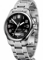 Officer's Large Mechanical Black Dial Steel Bracelet