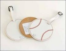 Baseball Luggage Tag - Synthetic Leather