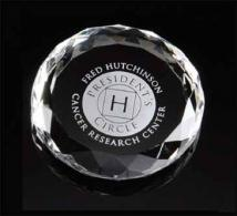 "Optical Crystal Paperweights 3 1/2"" Round Faceted"