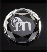 "Optical Crystal Paperweights 2 3/4"" Round Faceted"