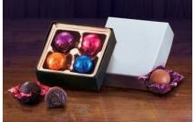 Silver Gift Box With Chocolate Truffles - 4 Pieces