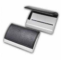 Metal Business Card Case With Faux Leather Top Cover