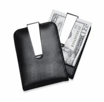 Faux Leather & Chrome Plated Combo Money Clip