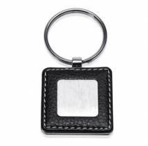 Elegant Key Holder, Faux Leather With Brushed Metal Square