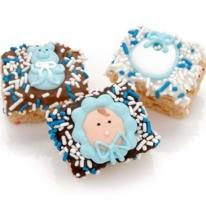 New Baby Boy Chocolate Dipped Mini Krispies