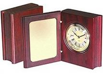 Wooden Book Clock Award/Large Brass Plate