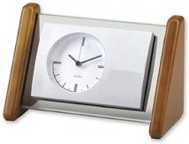 Triangular Shape Glass & Silver Desk Clock
