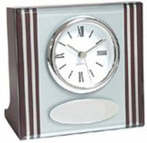 Glass & Wood Desk Clock With Silver Accents