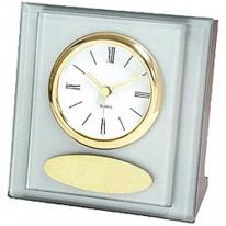 Glass & Silver Desk Clock With Gold Trim & Brass Plate