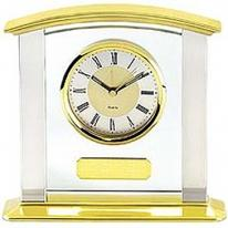 Brass & Silver Desk Clock With Silver Columns