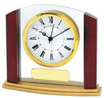 Wood & Glass Analog Desk Clock
