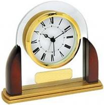 Arched Wood & Glass Analog Desk Clock