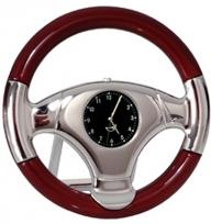 Wood & Silver Metal Steering Wheel Clock