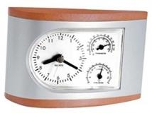 3 in 1 Silver & Wood Clock, Thermometer & Hygrometer