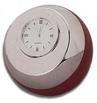 Silver & Wood Accented Ball Shaped Clock