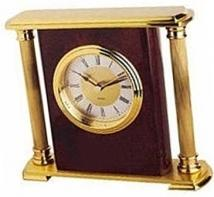 Piano Wood Finish & Brass Accented Mantel Clock