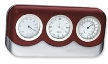 3-in-1 Wood & Silver Finish Clock