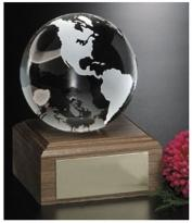Continental Globe On Wood Base 4""