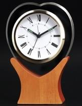 Heart Glass Clock On Wood Base