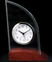 Glass Alarm Clock On Wooden Base